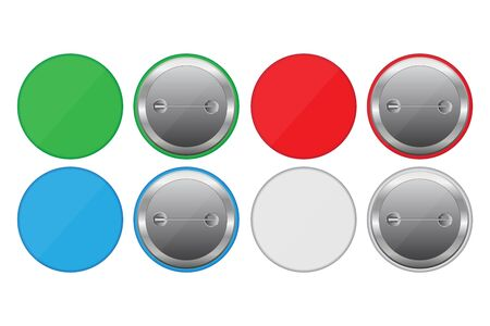 Colored button pins vector illustration isolated on white background