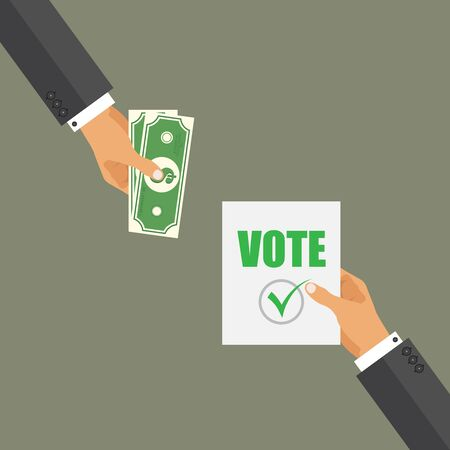 Buying vote concept. Corruption in the election day. Dirty candidate.
