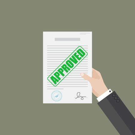 Businessman hand hold approved document Vectores
