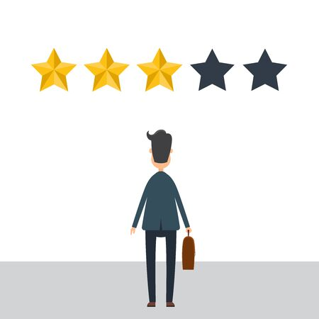 Businessman in suit give a review. Evaluation concept. Feedback. Vector illustration in flat design.