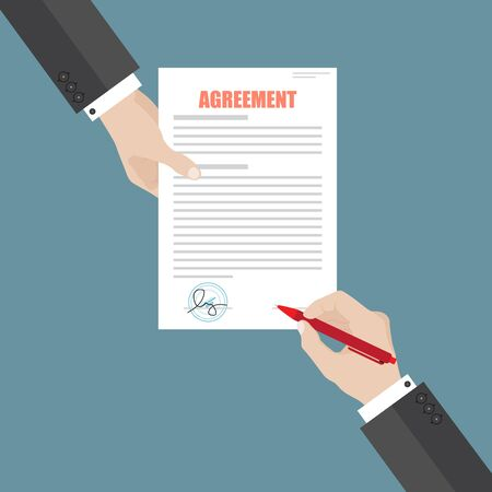 Businessman sign agreement paper document . A person signs a contract. Partnership, cooperation, agreement concept.