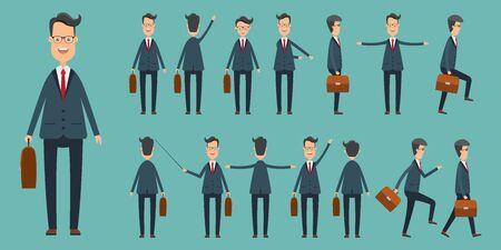 Set of businessmans in different positions vector illustration in flat design Vektoros illusztráció