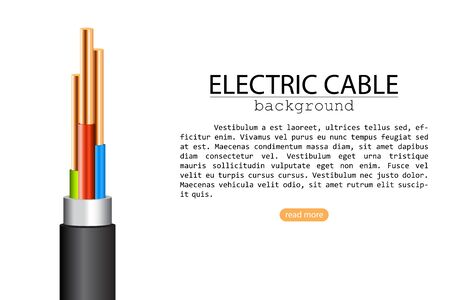 Electric cable vector illustration isolated on white background. Background of electric cable