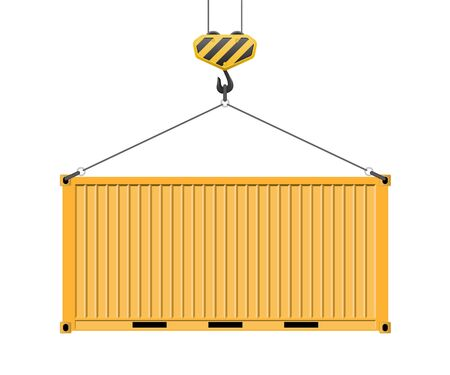 Container hanging on the hook vector illustration isolated on white background. Vettoriali