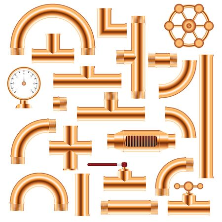 Copper pipe fittings set vector illustration isolated on white background