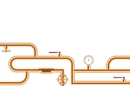 Copper pipes system background vector illustration