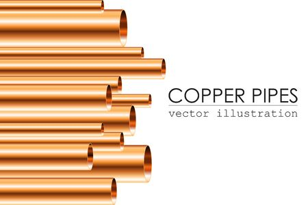 Copper pipes vector illustration isolated. Different sizes of copper pipes