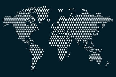 Dots world map vector illustration isolated