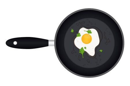 Fried egg with parsley in the pan vector illustration 向量圖像