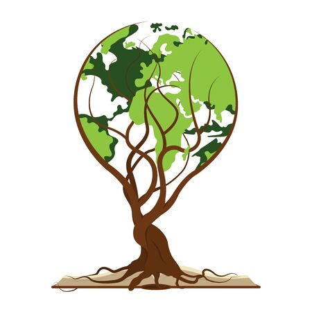 World tree and opened book  vector illustration 向量圖像