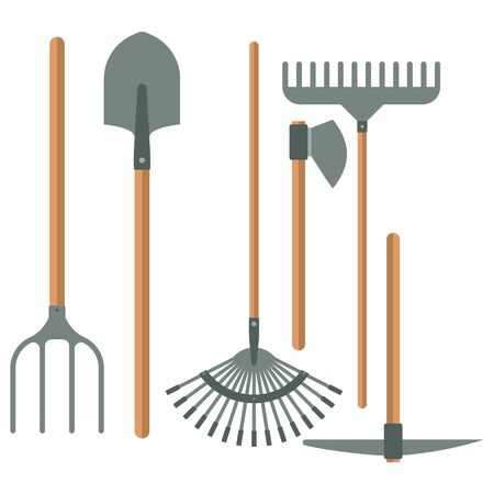 Gardening tools set in flat design vector illustration isolated on white background