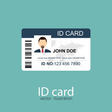 ID card vector illustration in flat style Vetores