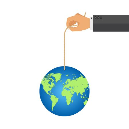 Man hand holde earth globe with a rope. Responsibility, power concept 向量圖像