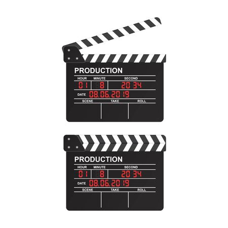 Movie clapper board vector illustration isolated on white background