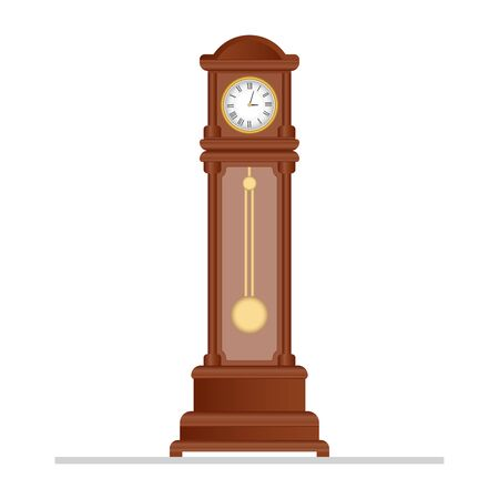 Old retro clock with pendulum vector illustration Vector Illustratie
