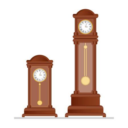 Old retro clock with pendulum vector illustration
