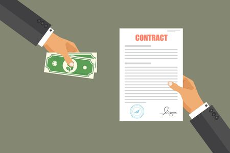 Contract bribe concept. Businessman pay for contract. Corruption in business