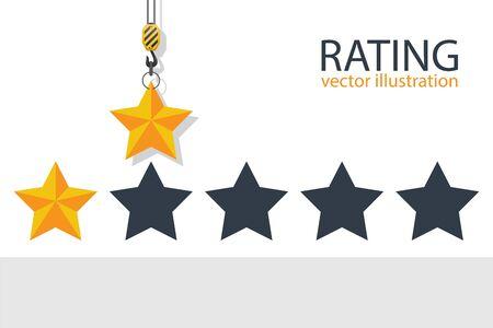 Hook crane holding rating star. Vector illustration. Vektorgrafik