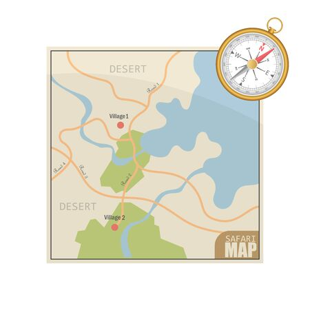 Safari map and magnetic compass vector illustration isolated on white background