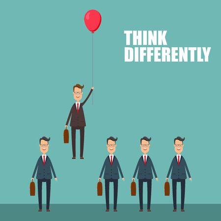 Think differently in business concept. Vector illustration in flat design.