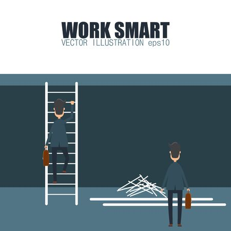 Work smart concept. Efficiency in business. Vector illustration in flat design.
