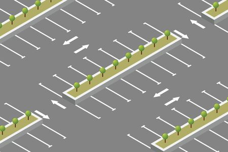 Empty car parking isometric design vector illustration