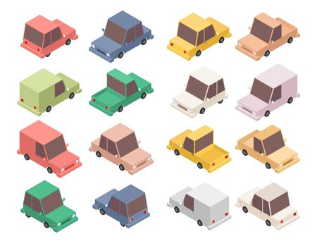 Isometric car set vector illustration isolated on white background