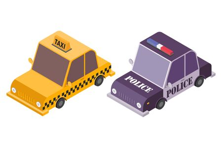 Isometric taxi car and police car vector illustration