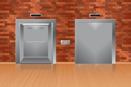 Opened and closed elevator in brick wall vector illustration