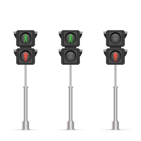Pedestrian traffic light vector illustration isolated on white background