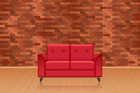 Livingroom interior with brick wall decoration, wooden floor and sofa