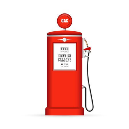 Retro gas pump vector illustration isolated on white background