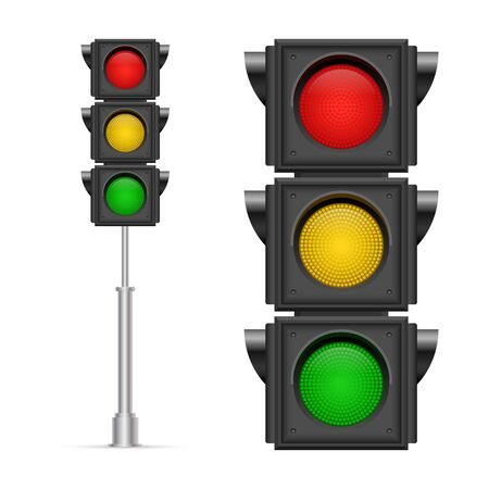 Traffic lights vector illustration isolated on white background Ilustración de vector