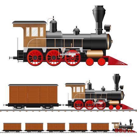 Vintage steam locomotive and wagon vector illustration isolated Vektorgrafik