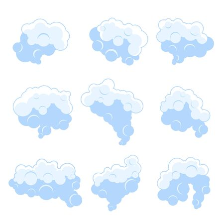 Set of cartoon smoke fog vector illustration