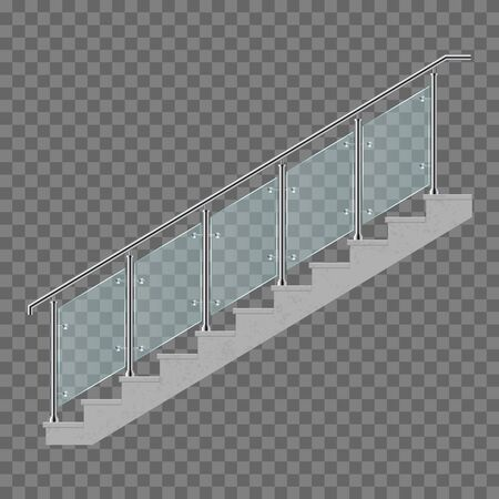 Stairs with glass railing vector illustration isolated on transparent background