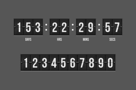 Mechanical scoreboard countdown timer vector illustration isolated
