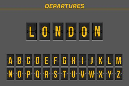 Flight destination on mechanical scoreboard vector illustration 일러스트