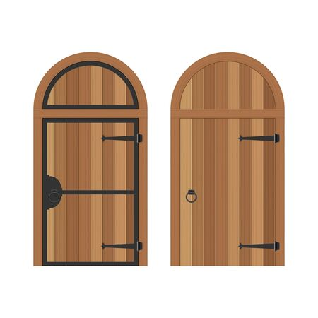 Old wooden door vector illustration isolated on white background
