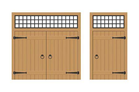 Old wooden door vector illustration isolated on white background Ilustração