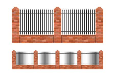 Brick and steel fence vector illustration isolated