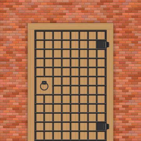 Medieval castle door with steel bars vector illustration