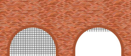 Medieval castle gate and brick wall vector illustration Çizim