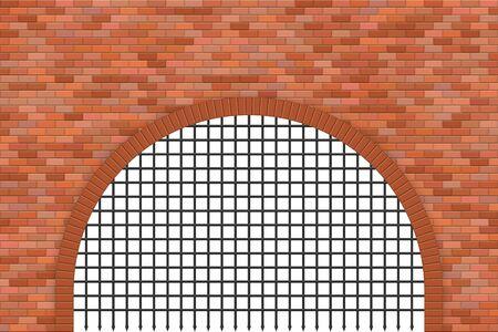 Medieval castle gate and brick wall vector illustration Ilustração