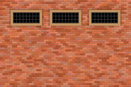 Medieval castle windows and brick wall vector illustration