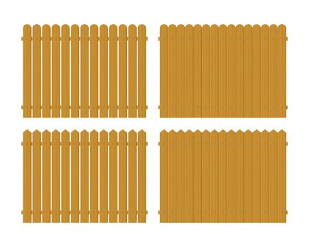 Wooden fence set vector illustration isolated on white background Zdjęcie Seryjne - 146729352