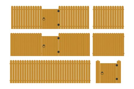 Wooden fence set vector illustration isolated on white background Vectores