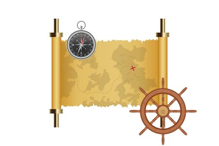 Treasure map, ship wheel and magnetic compass vector illustration