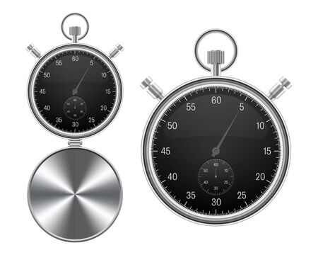 Vintage stopwatch vector illustration isolated on white background