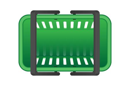 Colored grocery basket top view vector illustration